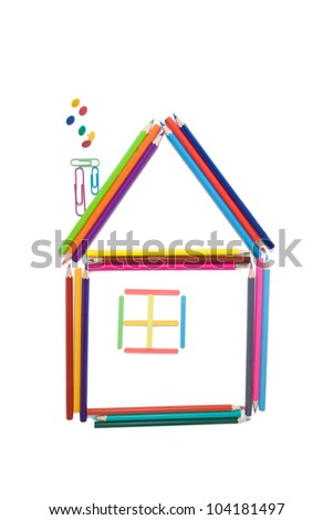 House made of color pencils, isolated on white background - stock photo