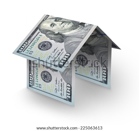 house made of folding US one hundred dollar bills  - stock photo