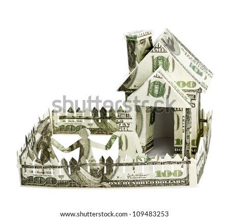 House made of money and the family - stock photo