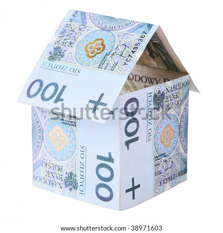 House made of polish money isolated on white background - stock photo