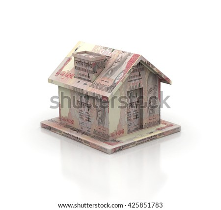 House made of 1000 Rs. Indian Bills on white background, High resolution sharp 3d render - stock photo
