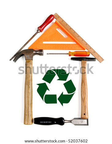 House made of tools With recycle symbol - With Clipping Path - stock photo