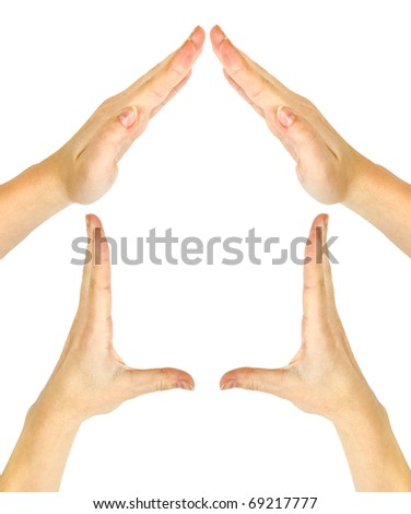 House made of woman hands on white background - stock photo