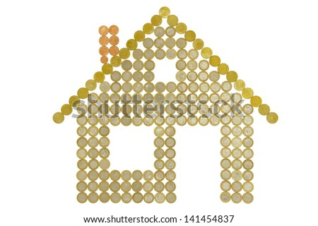 house made with euro coins - stock photo