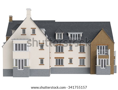 House mansion brick facade, front view. 3D graphic isolated object on white background - stock photo