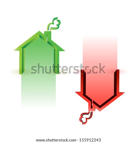 house market up and down illustration design over white - stock photo