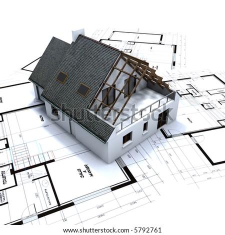 House mockup on architect's blueprints - stock photo