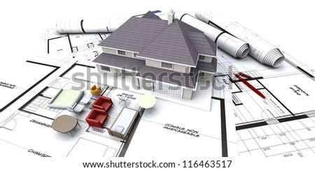 House mockup on architectÃ?Â??s blueprints with rolled-up plans and miniature furniture - stock photo