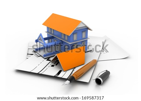 House model on a plan - stock photo
