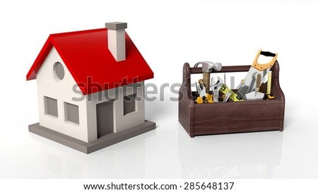 House model with tool kit isolated on white background - stock photo