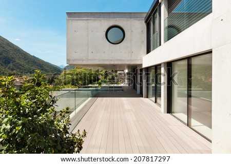 House,  modern architecture, long terrace, outdoor - stock photo