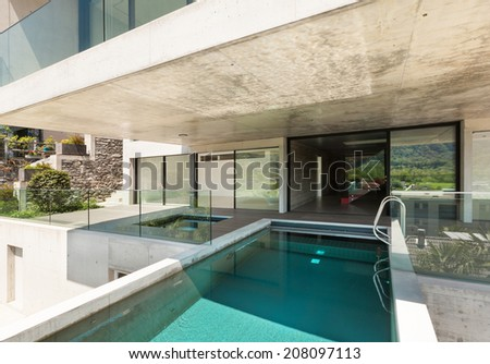 House,  modern architecture, swimming pool, outdoor - stock photo