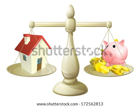 House money cales concept. Piggy bank on one side of a scale and a house on the other. Can have several meanings relating to real estate, savings or mortgages - stock photo