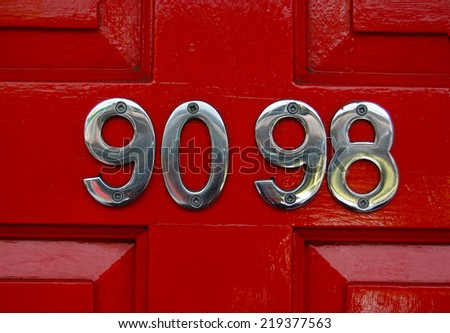 house number 90 98 - stock photo