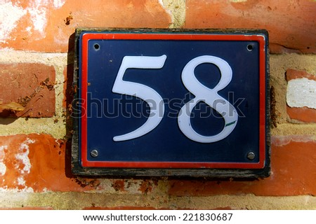 house number 58 - stock photo