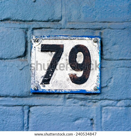 house number seventy nine - stock photo