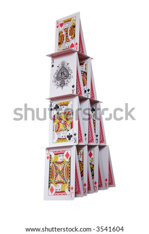 house of cards on white isolated - stock photo