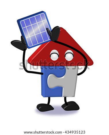 House of character - solar battery - stock photo