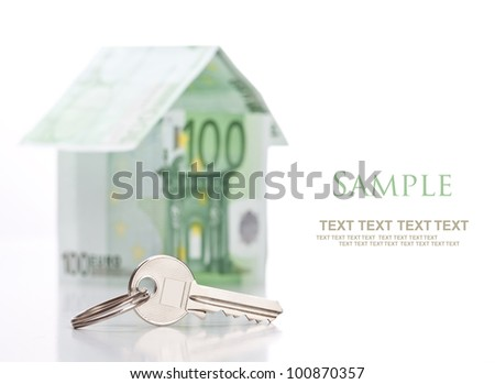 House of euro and key on white background with space for text - stock photo