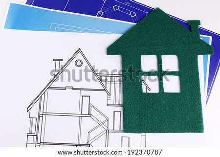 House of felt and drawings close up - stock photo