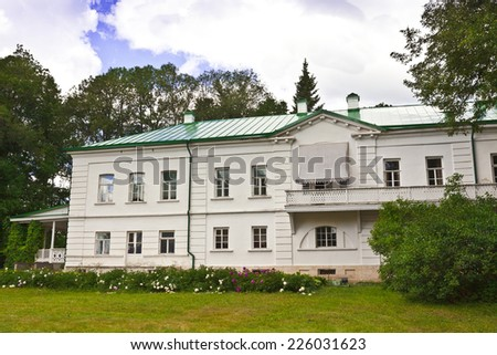 House of Leo Tolstoy in Yasnaya Polyana now a memorial museum. - stock photo