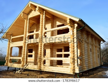 House of log - stock photo