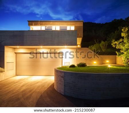 House of modern design, night view - stock photo