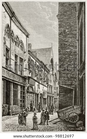 House of musicians old view, rue de Tambour, Reims. Created by De Bar and sargent, published on Magasin Pittoresque, Paris, 1882 - stock photo