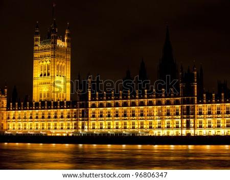 House of Parliament at night, London, UK - stock photo