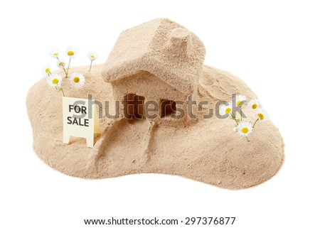 House of sand for sale on a white background. Icon - stock photo