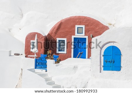 House of Santorini in Greece - stock photo