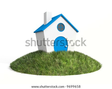 House on a grass. Conceptual image isolated on white - stock photo