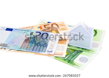 house on euro banknotes on a white background - stock photo
