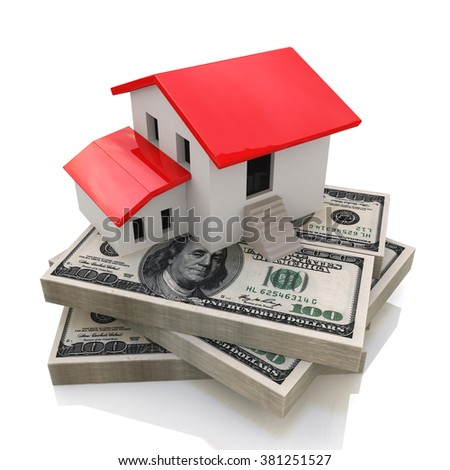 House on money in the design of access to information relating to the sale or purchase of Real Estate - stock photo