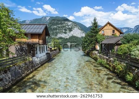 House on the Hallstatt lakeside, Upper Austria - stock photo
