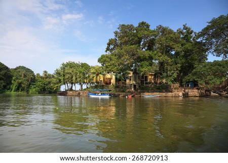 house on the island at the lake Nicaragua - stock photo