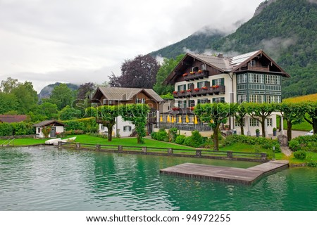House on the lake Wolfgangsee Austria (Village St. Wolfgang) - stock photo