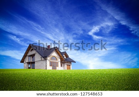 House on the nature - stock photo