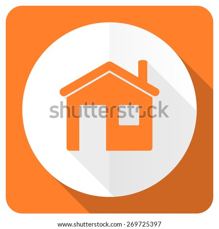 house orange flat icon home sign  - stock photo