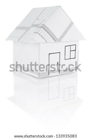 house origami isolated on white background - stock photo