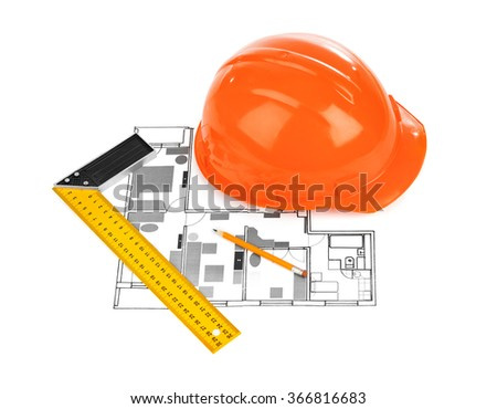 House plan and helmet isolated on white background - stock photo