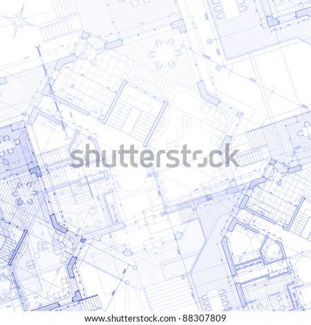 House plan - architecture blueprint. Bitmap copy my vector - stock photo