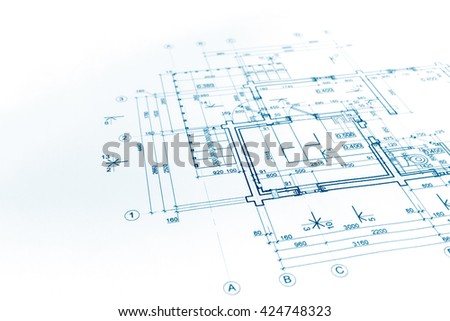 house plan blueprint, construction plan, part of architectural project - stock photo
