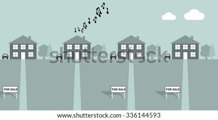House playing load music with neighbours for sale signs - stock photo