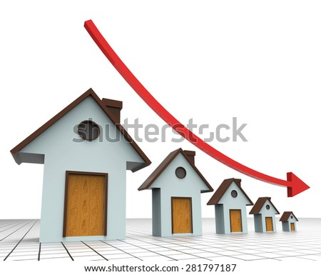 House Prices Decreasing Indicating Real Estate Agent And Prime Real Estate - stock photo