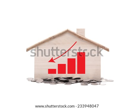 House prices graph with money on white background - stock photo