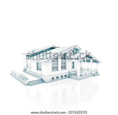 House project isolated on white - stock photo
