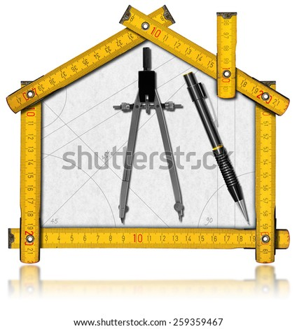 House Project - Yellow Wooden Meter. House project concept. Wooden meter ruler in the shape of house with a pencil and drawing compass. Isolated on white background - stock photo