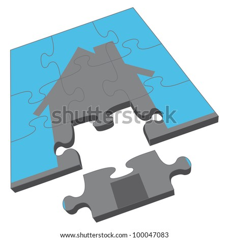 House Puzzle is an illustration of a jigsaw puzzle with the an image of a house. Portrays concept of owning a home or completing a home purchase or sale. - stock photo