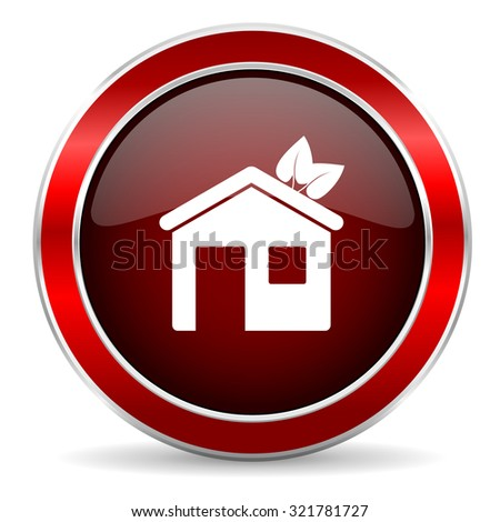 house red circle glossy web icon, round button with metallic border - stock photo